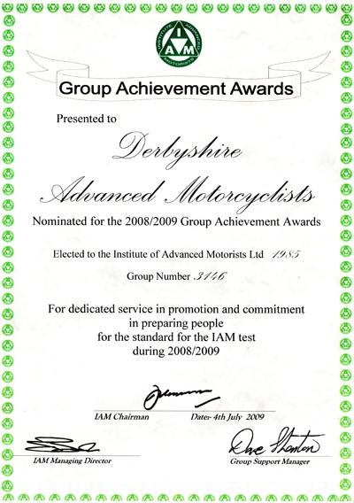 Group award cerificate